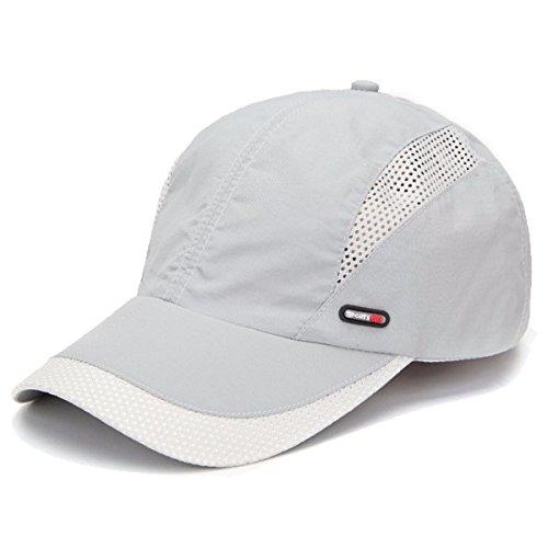 Sporty Sport Running Baseballcap Golf Outdoor Mesh Kappe Mütze Jogging Fitness Cap Laufkappe Schirmmütze Basecap atmungsaktiv verstellbar (Hellgrau)