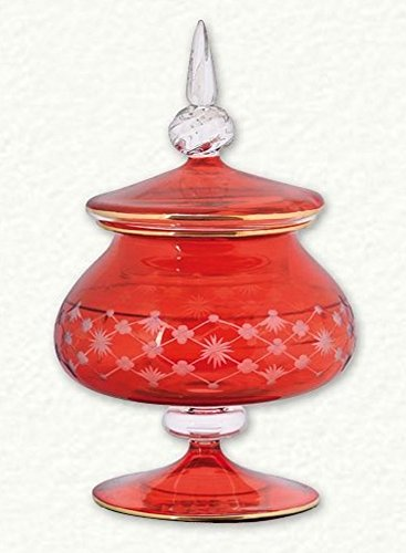Home and Holiday Shops Red Clear Etched Egyptian Blown Glass Full Candy Dish Ring Holder Made in Egypt Candy Dish Holder