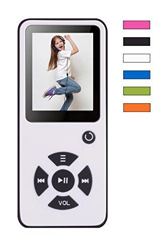 MP3-Player 8 GB Royal BC01 – 100 Stunden Wiedergabe, Lautsprecher, Kopfhörer, Schrittzähler, Hörbücher, FM Radio, Wecker, mit microSD Kartenslot für bis 128 GB microSD Karten – Weiss von BERTRONIC