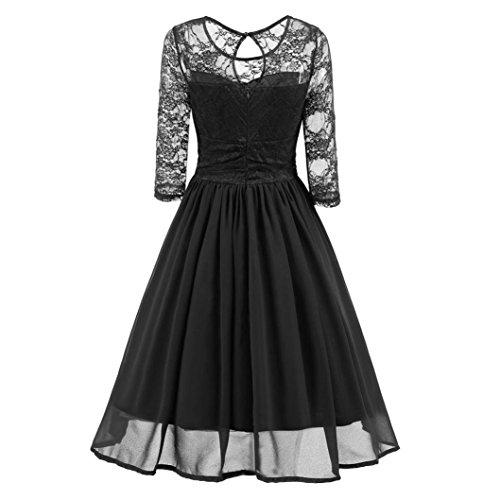 • • Luckycat Räumungsverkauf Damen Retro Spitzenkleid Vintage Spitze Abend Party Hochzeit...