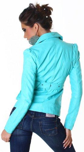 Voyelles Damen Jacke in Leder-Optik mit Gürtel Türkis