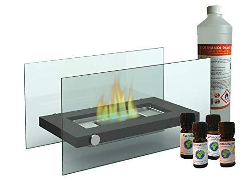 Cheminée de table en verre + 1 l de bioéthanol + 4 huiles parfumées - Pour une ambiance chaleureuse