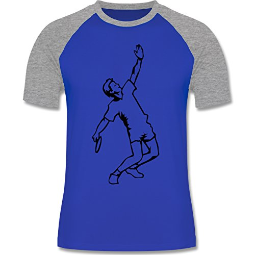 Tennis - Tennis - zweifarbiges Baseballshirt für Männer Royalblau/Grau meliert