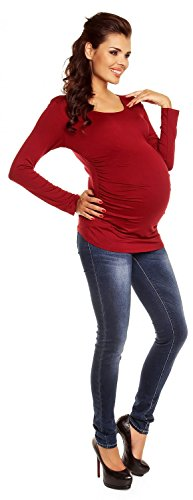 Zeta Ville - Femme Maternité Top jersey de grossesse - Haut extensible - 947c Cramoisi