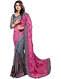 Latest Saree Fashion Women's Green Georgette And Net Heavy Party Wear Sarees For Women Latest Offer Design 2018...
