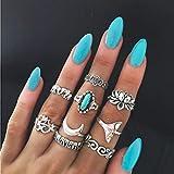 Yean - Juego de anillos para mujer y niña, diseño de flor y elefante, color turquesa