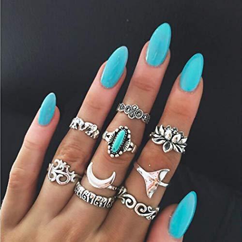 Yean Vintage Totem Ring Set Türkis Blume Mond Elefant Joint Knuckle Ringe für Frauen und Mädchen