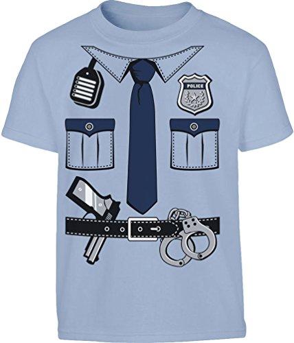 KIDS Polizei Kostüm Uniform Verkleidung Kleinkind Kinder T-Shirt - Gr. 86-128 2T Hellblau (Kinder-kleinkind-shirt)