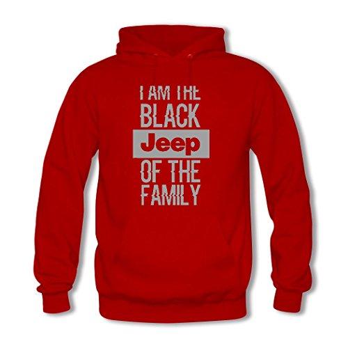 HGLee Printed DIY Custom Jeep Life Womens Hoodie Hooded Sweatshirt Red--2