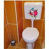 Annqing 3Pcs Floral Blue Bird Wohnzimmer Dekor Wandtattoo Klassische Toilette Wc Aufkleber 20X21Cm