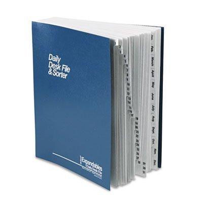Pendaflex DDF5OX - Expandable Desk File, 1-31/Jan-Dec Index, Letter Size, Pressboard, Black/Blue by Pendaflex®