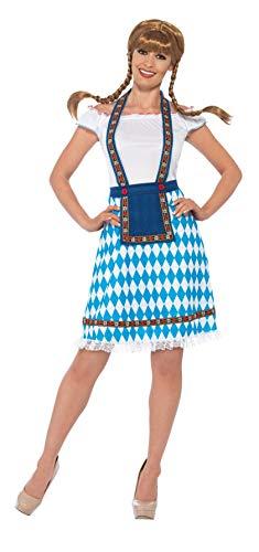 Smiffys 45974X1 - Damen Bayrische Magd Kostüm mit eingesetzter Schürze, Größe: 48-50, blau