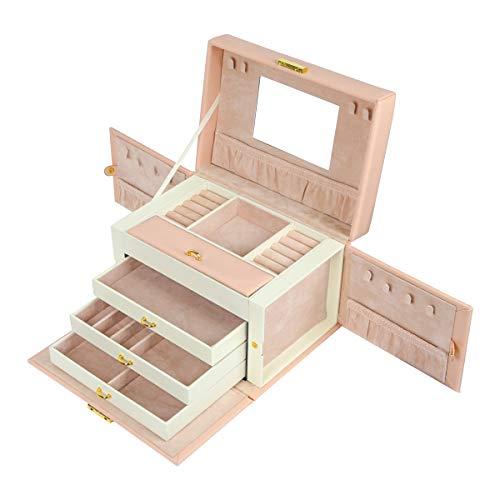 Meerveil Schmuckkasten, abschließbareSchmuckschatulle mit 4 Ebenen, Schmuckkästchen mit Spiegel, Schmuckkoffer für Damen und Mädchen, Geschenk für Frauen, Rosa -