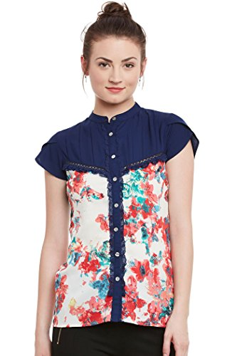 The Vanca Women's Printed Top With Ruffle, Tucks And Lace Detail