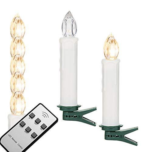 NYS 10 Piezas Mando a Distancia de Velas navideñas Navidad Vela LED, Multifunción Electronic Vela decoración de árbol de Navidad, Luces de Navidad, Luz Blanca Cálida, Incluye Mando Distancia