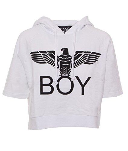 BOY LONDON FELPA DONNA CORTA FELPINA CAPPUCCIO BL1018 Bianco
