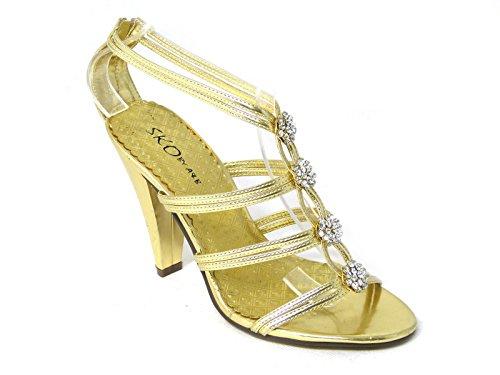 Femme Mariée Mariage/Fête Talon Haut Classique Pompes Cour Chaussures Taille Gold (6)