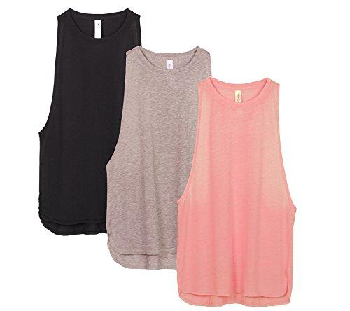 op Damen Locker - Yoga Fitness Shirt Racerback Oberteile atmungsaktive (Black/Beige/Pale Blush, S) ()