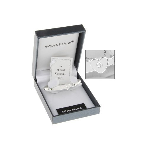 Equilibrium Silver Plated Christening Bracelet with a heart