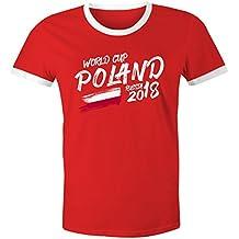MoonWorks Herren WM-Shirt Polen Poland Polska Fan-Shirt WM Fußball Weltmeisterschaft 2018 World Cup