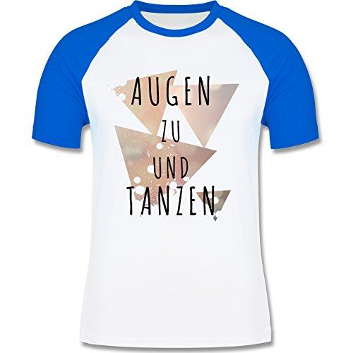 Shirtracer Festival - Augen zu und Tanzen - Herren Baseball Shirt Weiß/Royalblau