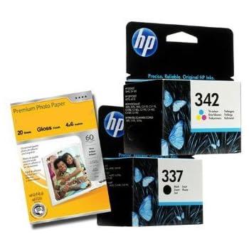 2 x Cartouche d'encre pour Imprimante HP 337 et 342 - Noir+Tri-Couleur pour HP Deskjet D4160, Officejet 6310 6315, Photosmart 2570 2575 C4180 C4190 + Premium Glossy Photo Papier - 4x6 - 20 feuilles