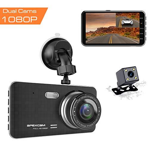 Caméra de Voiture, Apexcam Dashcam Double Objectif Voiture enregistreur de Conduite 4'IPS 1080P FHD 170 ° Grand Angle avec G-Sensor WDR, Surveillance du stationnement par DVR, détection de Mouvement