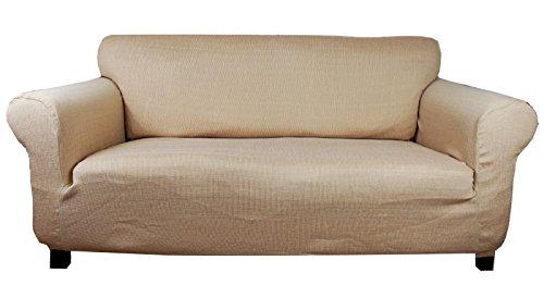 Stretchhusse (beige-creme) Hussen für Sofa 2 sitzer - Sofahusse