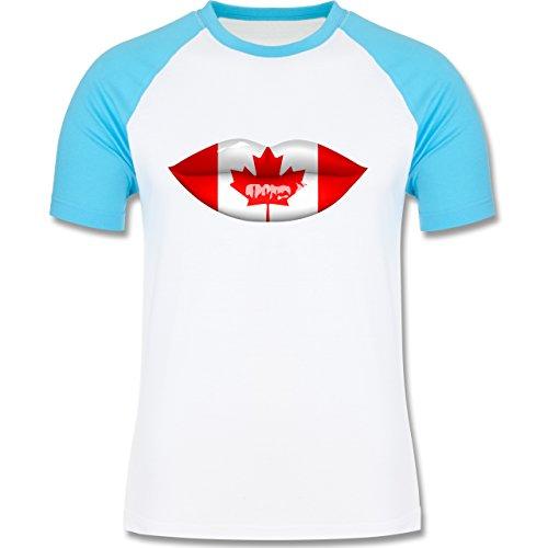 Länder - Lippen Bodypaint Kanada - zweifarbiges Baseballshirt für Männer Weiß/Türkis