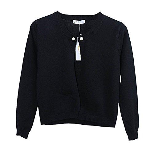 Femmes Casual Cou Rond Gilet Court Cardigan À Manches Longues Pull Hauts Veste En Tricot Noir