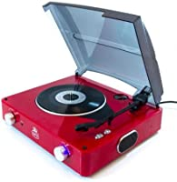 GPO Stylo 3 Speed Stand Alone Turntable with Built In Speakers - Red