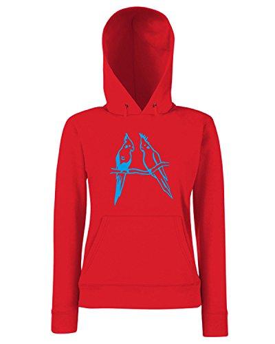 T-Shirtshock - Sweats a capuche Femme FUN1026 cockatiel bird birds animal animals vinyl decal sticker 33977 Rouge