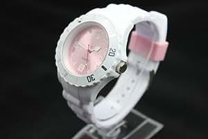 Montres couleurs tendances - MIXTES - 24 COLORIS ET PLUSIEURS TAILLES - Pochette cadeau LovaLuna offerte - Par LovaLunaTM - Blanc fond rose clair Taille S (cadran 3,8 cm)