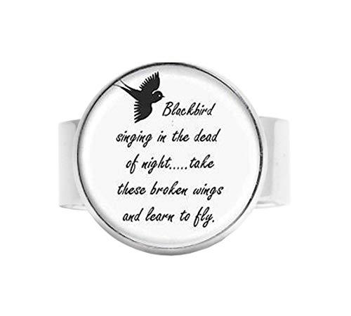 bab Blackbird Singing in The Dead of Night Anhänger Songtext Art Jewelry Verstellbarer Ring