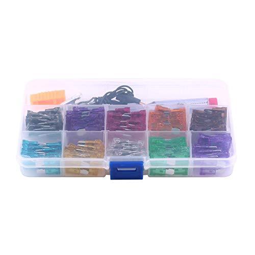 Keenso 100 Stücke 10 Gauge Blade Fuse Set Sortiment Kit Micro Mini Standard Blade Sicherungshalter Box Set für Auto Auto Lkw SUV -