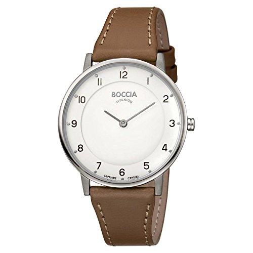 Boccia Damen Analog Quarz Uhr mit Leder Armband 3259-01