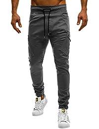 Naturazy Pantalones Hombres Largos Pantalone Casuales Transpirable CóModo Cintura EláStica con CordóN Pantalones CháNdal Sueltos Ocasionales