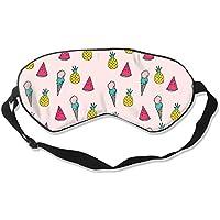 Preisvergleich für Natural Silk Eyes Mask Sleep Ice Cream Pineapple Blindfold Eyeshade with Adjustable for Travel,Nap,Meditation,...