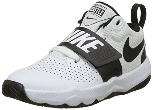 Nike team hustle d 8 (ps), scarpe da basket bambino, bianco (white/black), 28.5 eu