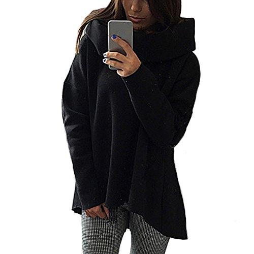 DELEY Femmes Mode Irrégulière Coupe Longue Manches Hoodies Sweats Sweat-Shirt Vêtements Tops Blouse Streetwear Noir