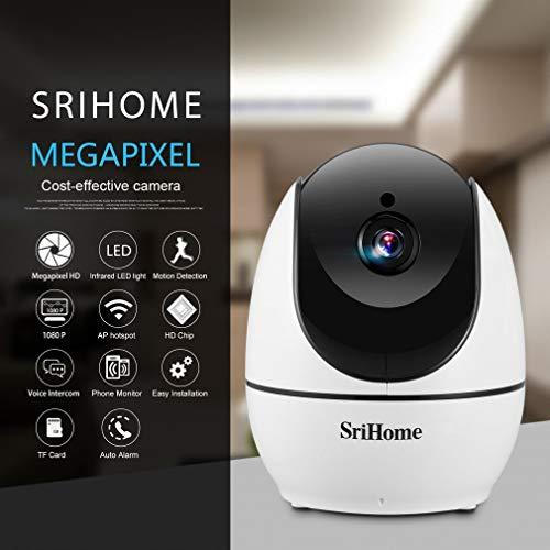 SriHome Cámara IP 1080P,  Cámara Vigilancia WiFi Interior,  Audio de Dos Vías,  Visión Nocturna,  Detección de Movimiento,  Seguridad para Bebés,  Mascotas y Casa,  Compatible con iOS,  Android,  Windows