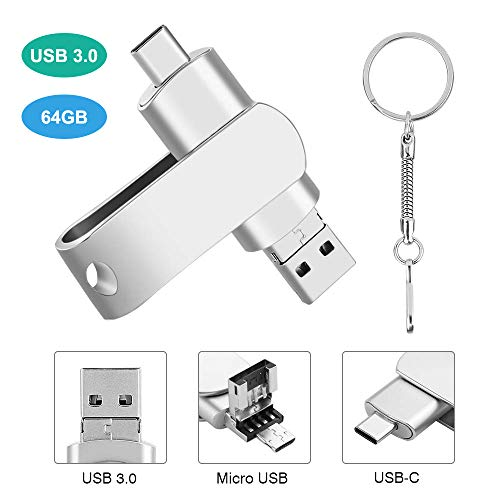 USB Stick 64GB, USB 3.0 Type C Micro USB 3 in 1 Flash Laufwerk Memory Stick mit Schlüsselanhänger Wasserdicht Stoßfest Metal Flash Drive Kompatibel für Android/Windows