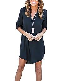 Femme Asymétrique Chemise Robe Casuel T-Shirt Top Longue en Mousseline de  Soie 58c40879dd19