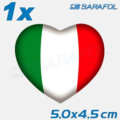 Preisvergleich Produktbild 1x Italien Herz Aufkleber (Nr.046) Cuore bandiera Italia Sticker Italy 5, 0x4, 5 cm