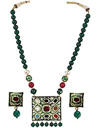 Traditional Designer Green Navratan And Kundan Necklace Set With Onyx Beads For Women And Girls