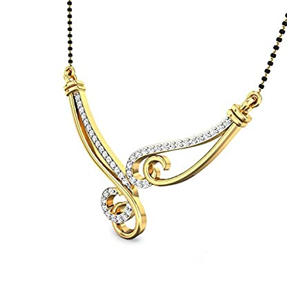 Candere By Kalyan Jewellers Bailey 14k Yellow Gold and Diamond Mangalsutra Necklace