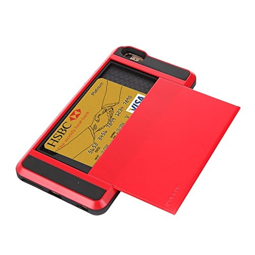 Für IPhone 6 / 6S Blade PC + TPU Kombi-Gehäuse mit Kartensteckplatz DEXING ( Color : Gold ) Red