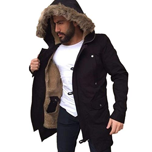 Uomogo giubbotto parka uomo invernale giacca cappotto con cappuccio invernali fodera giacca antivento caldo