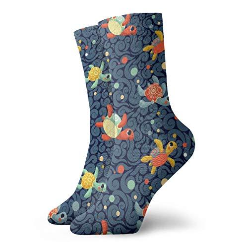 Huabuqi Socken Damen Baumwolle, Ditsy Sea Turtles_4726,100% Baumwolle rutschfest für Männer Frauen eine Größe. (Cheshire Katze Mann Kostüm)