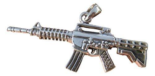 925 Silber-Maschinengewehr M-16 AK 47 Halskette Schmuck-Kunst 925 Silver Machine Gun M-16 AK-47 Pendant Necklace